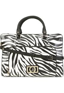 Bolsa Couro Jorge Bischoff Shopper Transversal Feminina - Feminino-Branco+Preto