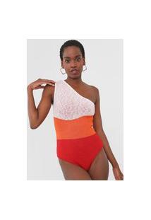 Body Tricot Dress To Ombro Único Por Do Sol Laranja/Vermelho