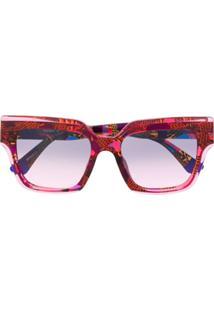 Etnia Barcelona Óculos De Sol Com Estampa Abstrata - Rosa