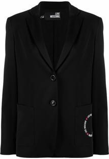 Love Moschino Logo Print Tailored Blazer - Preto