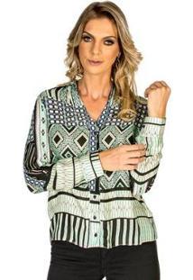 Camisa Estampa Geométrica Cynthia Hayashi Feminina - Feminino-Verde