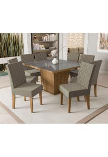 Conjunto De Mesa De Jantar Com Tampo De Vidro E 8 Cadeiras Pitanga Suede Cinza E Freijó