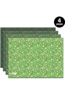 Jogo Americano Mdecore Natal Pinheiros 40X28 Cm Verde 4Pçs