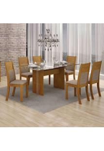 Conjunto De Mesa 160 Cm Com 6 Cadeiras Hawai Linho Imbuia Mel E Bege