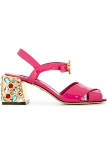 Dolce & Gabbana Sandália De Couro Envernizado Com Aplicação - Rosa