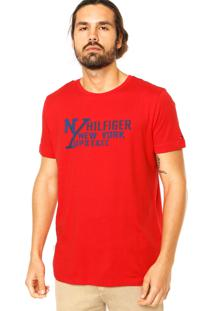 Camiseta Manga Curta Tommy Hilfiger Estampada Vermelha