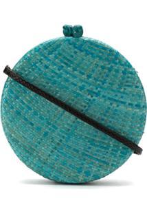 Serpui Clutch De Palha - Azul