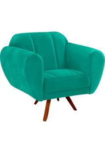 Poltrona Decorativa Melissa Suede Verde Tiffany Com Base Giratória Madeira - D'Rossi