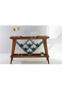 Aparador Adega Bar Gourmet De Madeira Maciça Com Tampo Espelhado Pubi 130X33X90Cm - Verniz Capuccino E Azul