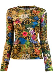 Versace Jeans Couture Blusa Slim Com Estampa Barroca - Preto