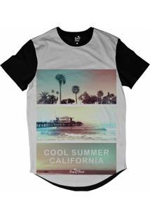 Camiseta Longline Long Beach Verão Californiano Sublimada Branco