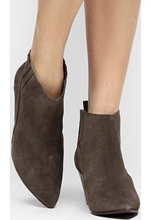 Bota Couro Chelsea Shoestock Salto Grosso Feminina - Feminino-Mescla Escuro
