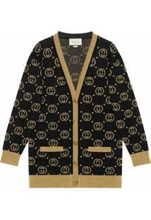 Gucci Cardigan De Lã Com Padronagem Gg - Preto