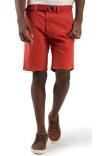 Bermuda Chino Flex Com Cinto Telha Taco Masculina - Masculino-Laranja