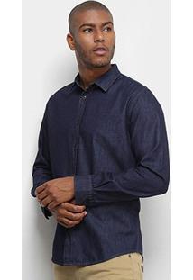 Camisa Jeans Colcci Classic Masculina - Masculino-Azul