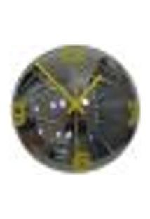 Relógio De Parede Decorativo Espelhado Cor Amarelo 28X28X10