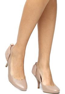 Scarpin Couro Shoestock Salto Médio - Feminino-Nude