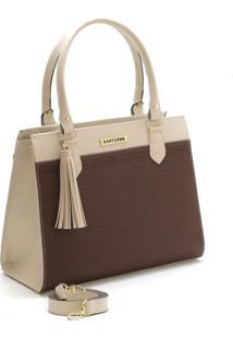 Bolsa Bicolor Santorini Handbag Tricê Creme/Marrom