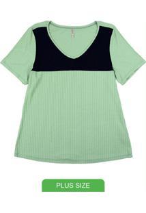 Blusa Em Tecido Canelado Com Decote V Verde