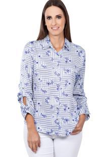 Camisa Love Poetry Estampado Branco/Azul