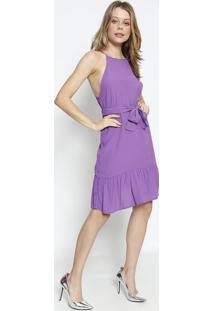 Vestido Texturizado Com Amarraã§Ã£O - Roxo - Colccicolcci