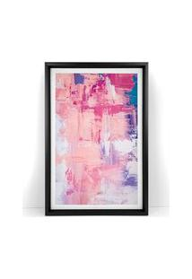 Quadro Com Moldura Chanfrada Abstrato Rosa 60X90