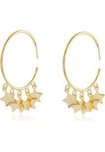 Brinco De Argola Com Pingentes De Estrelas Banhado Em Ouro 18K Brinco De Argola Com Pingentes De Estrela Banhado Em Ouro 18K