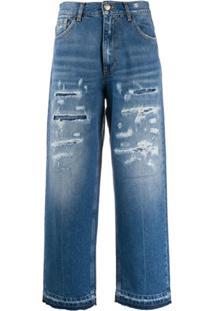Pinko Calça Jeans Cropped Cintura Alta - Azul