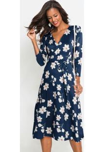 Vestido Com Amarração Estampado Floral Azul