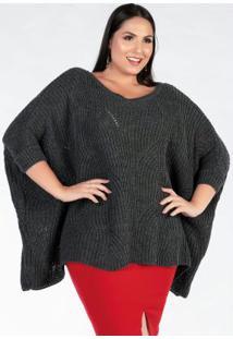 Blusa Tricot Plus Size Chumbo Poncho