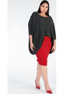 Blusa Tricot Plus Size Chumbo