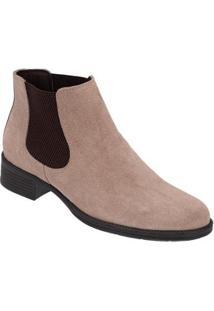Botinha Chelsea Feminina Boots Em Camurça - Feminino-Areia