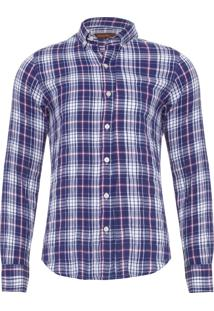 Camisa Masculina Herringbone - Azul