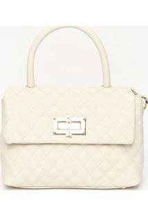 Bolsa Em Matelass㪠Com Compartimentos- Off White & Dourasanta Lolla