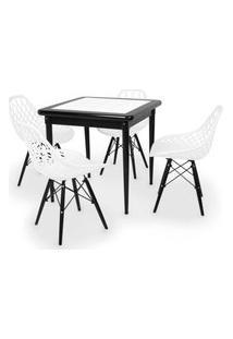 Conjunto Mesa De Jantar Em Madeira Preto Prime Com Azulejo + 4 Cadeiras Vision - Branco