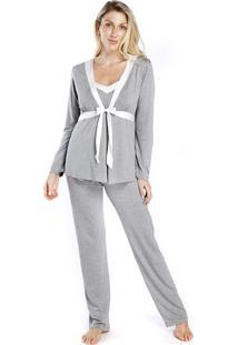 Pijama Gestante Triplex Mescla Com Cetim Off White - Tricae