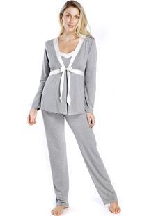 Pijama Gestante Triplex Mescla Com Cetim Off White