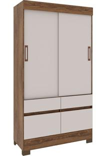Guarda Roupa Solteiro Com 4 Portas E 2 Gavetas Recifes-Rodial - Nature / Off White