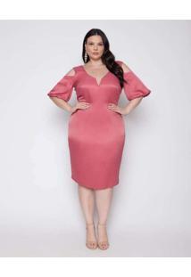 Vestido Almaria Plus Size Pianeta Longuete Cetim R