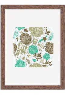 Quadro Decorativo Floral Verde Mesclado Com Fundo Branco Madeira - Grande