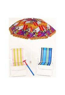 Kit Praia Guarda Sol 1,60M +2 Cadeiras +Sacareia Bel Lazer - Unissex