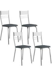 Cadeira 026 Cromada 04 Unidades Branca/Jeans Carraro