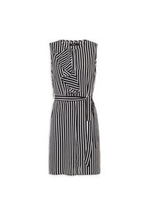 Vestido Stripes Ruffles Dress Sleevele - Preto