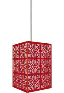 Luminária Pendente Taschibra Renda 102 E27 Vermelha Fosca Bivolt