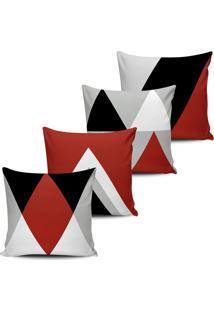 Kit 4 Capas Almofadas Geometrica Terracota E Preto 45X45Cm - Tricae