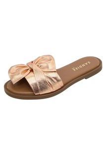 Sandália Rasteira Em Couro Sandiee Laço Rosa Gold Metalizado
