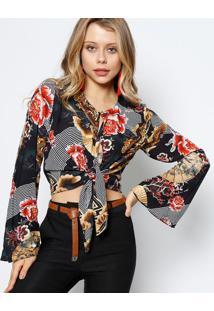 Blusa Floral Com Amarraã§Ã£O- Preta & Marrom Clarolez A Lez
