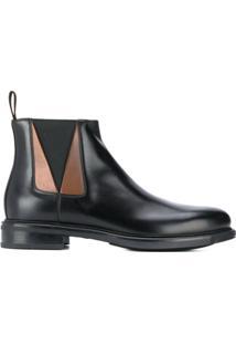 Santoni Ankle Boot Com Recortes - Preto