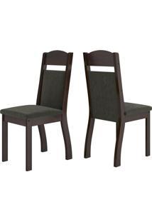 Cadeiras Kit 2 Cadeiras Selena 14112 Ameixa/Marrom - Viero Móveis