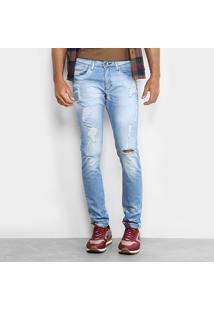 Calça Jeans Skinny Preston Destroyed Elastano Skinny Masculina - Masculino